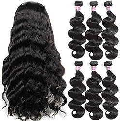 B&P Hair Brazilian Body Wave Virgin Hair 3 Bundles 7A 100% Unprocessed Brazilian Remy Human Hair Weave Extensions Natural Black 24 26 28inches Full Head