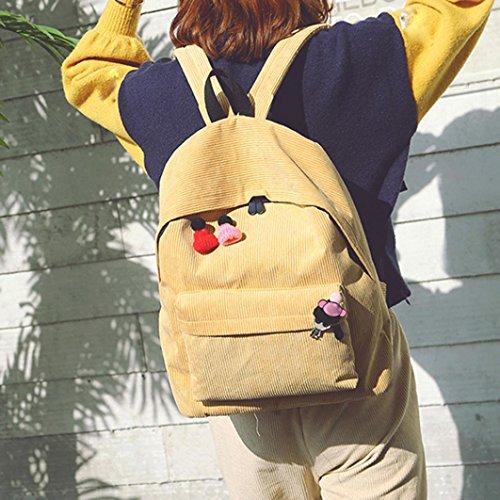 Bolso de Hombro de Moda de Mochila de Muchacha de Pana de Mujeres Bolsas de Viaje por ESAILQ Amarillo