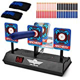 Electronic Scoring Target for Nerf Guns, Auto Reset Shooting Digital Target Practice Toy for Nerf Guns N-Strike Elite/Mega/Rival Series with 40 Pcs Refill Darts and 2 Wrist Bands for Boys&Girls