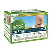 Seventh Generation Free and Clear Sensitive Skin Baby Diapers with Animal Prints, Size 2, 72ct