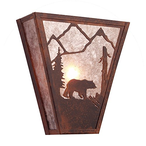 Steel Partners Lighting 9410 R Bear Vegas Sconce With Amber Mica Lens  Rust Finish