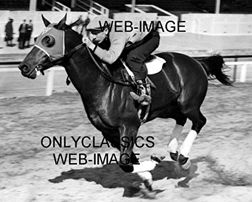 OnlyClassics 1938 SEABISCUIT- Beautiful Horse Racing in Full Stride Pimlico Match Race Photo ()