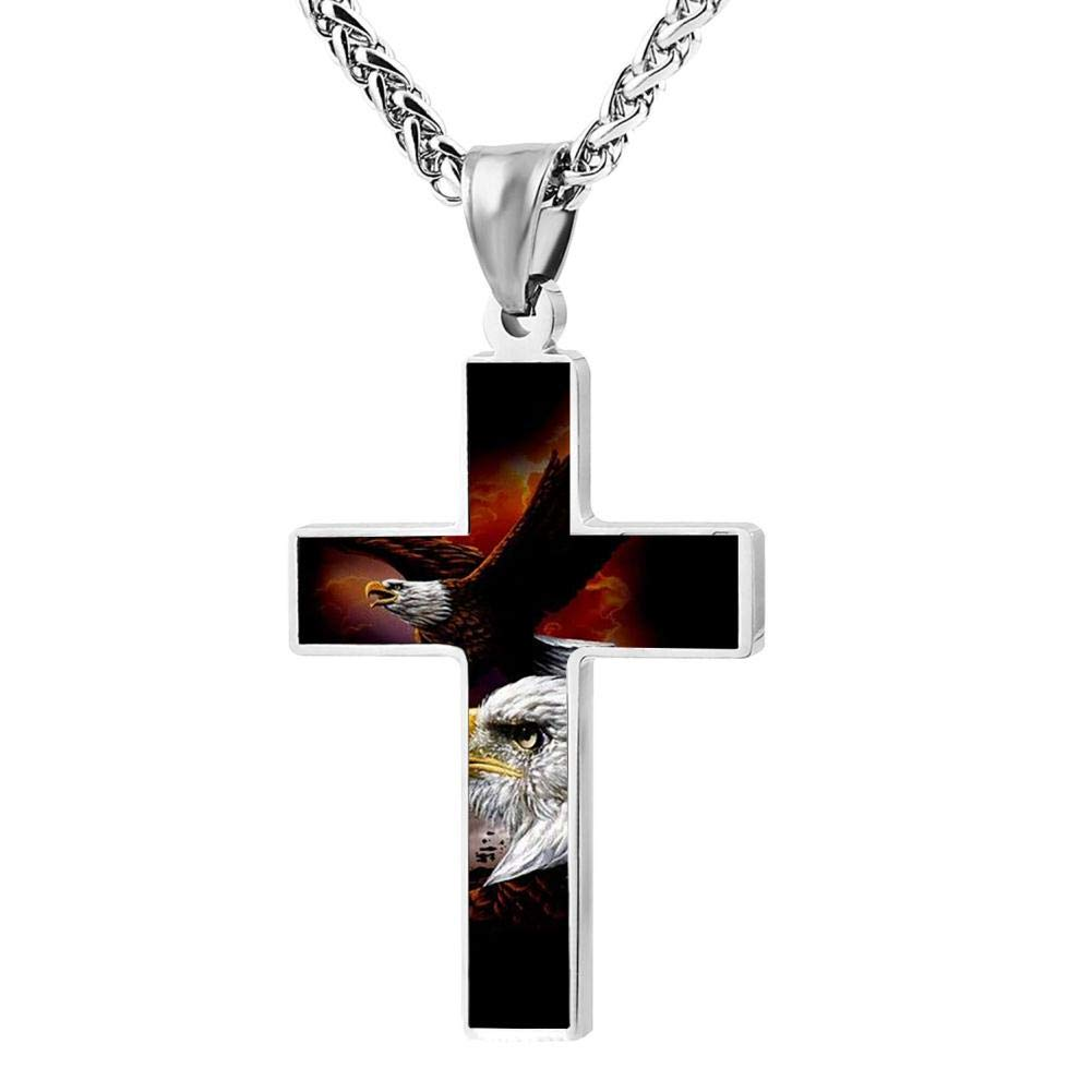 KOTOKTO American Flag Independence Day Bald Eagle Cross Religious Jewelry Pendant Necklace