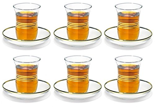 by Pasabahce 12 Pc Turkish Tea Glasses /& Saucers Set Gold Trim Design