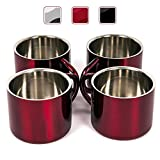 stainless steel cup 2 oz - Red Stainless Steel Double Wall Espresso Cups, Small, Set of 4
