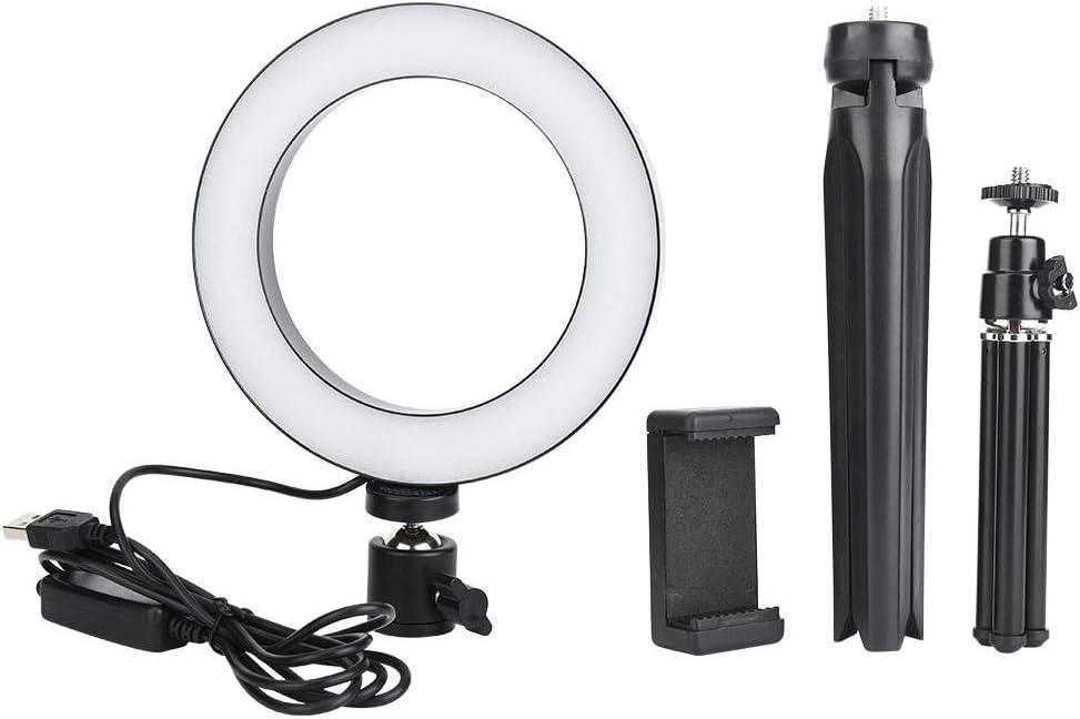 مصباح كاميرا LED قابل للتعتيم 16 سم من Qiilu، طقم مصباح كاميرا مع حامل ثلاثي القوائم للهاتف المحمول ومنفذ USB