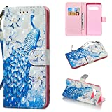 Amocase Wallet Case with 2 in 1 Stylus for Samsung Galaxy S10,Luxury 3D Peacock Flowe Art Printed Scratch Resistant Magnetic Kickstand Full Body Soft Silicone Strap PU Leather Case