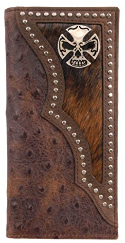 Custom print and Long Crossbones and wallet with hide Ostrich hair inlay Skull rTXw1r