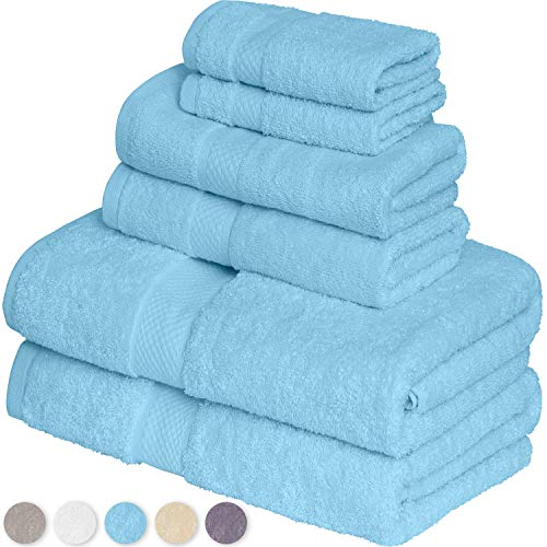 GREEN LIFESTYLE Luxury 6-Piece Towel Set Includes 2 Extra Large Bath Towels, 2 Hand Towels, and 2 Washcloths Ringspun Cotton is Extra Absorbent and Super Soft (Teal)