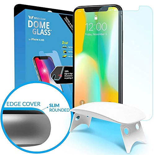 Dome Glass iPhone X Screen Protector Tempered Glass Shield, [Liquid Dispersion Tech] 2.5D Edge of Screen Coverage, Easy Install Kit and UV Light by Whitestone for Apple iPhone X (2017) -