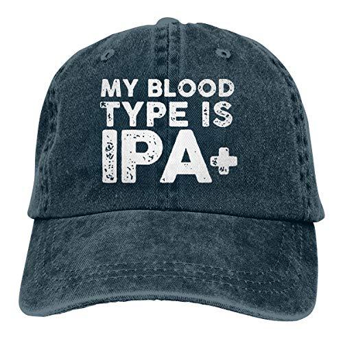 WAYOULUCK Unisex Adjustable Baseball Cap My Blood Type is IPA Snapback Hat Navy Cap Sleeve Raglan Type