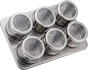 Stainless Steel Magnetic Containers Multipurpose Spice Tin Rack Perfect Kitchen Storage 6 Piece Set