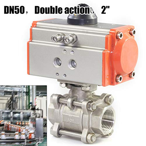 Pneumatic Actuated SS Ball Valve Double Acting Air Return 2 in 3 Piece Single Acting Stainless - Piece 3 Actuated Air