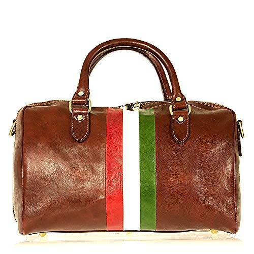 Genuino Italia Viaje Made Marrón Bolsa Bandera Cm In Unisex En De 43x30x23 Italy Piel SBWXqAUO