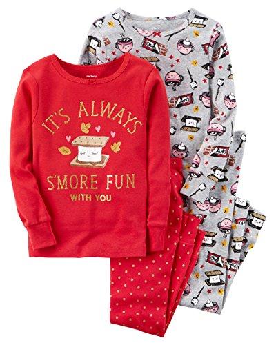 Carter's Girls' 2T-12 4 Piece Bedtime S'more Fun Pajamas Red - Warehouse Coupons Fun