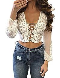Women's Lace Tops Deep V-Neck Bandage Mesh Sheer Long Sleeve Crop Top T Shirt Blouse Tee