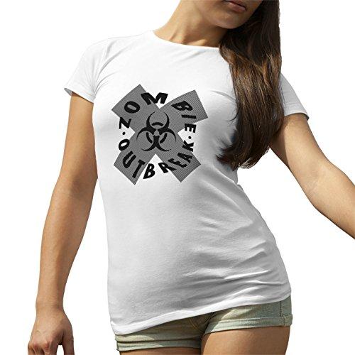 Zombie Outbreak Biohazard T-Shirt camiseta para la Mujer Blanca