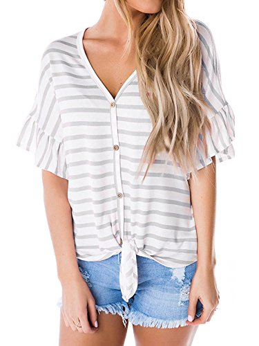 Ruffle Front Top - Ivay Women's Striped Button up Front Tie Shirt Casual V Neck Ruffle Sleeve Tops