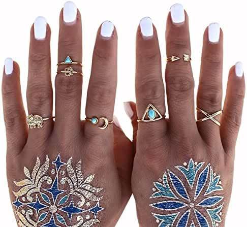 Cougar's Choice 8 Pcs Turkish Arrow Moon Turquoise Joint Knuckle Nail Midi Ring Set Boho Ring Set