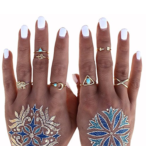 Cougar's Choice® 7 Pcs Fashion Vintage Turkish Arrow Moon Turquoise Joint Knuckle Nail Midi Ring Set Boho Ring Set (Gold)