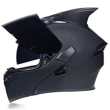 Goolife JIEKAI Flip Up Tiburón Fin Motocicleta Casco Modular Moto Casco con Visera Interior Parasol Seguridad Doble Lente Racing Cascos Full Face: ...