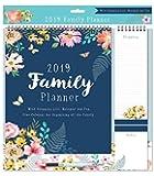 2019 Family Organiser Calendar, Memo Pad, Pen & Shopping List - Bright Flowers