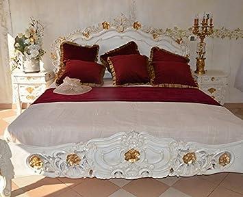Exceptional Ehebett Doppelbett Bett Schlafzimmer Barock Holzbett Jugendstil Barockbett  175 X 220 X 230 Cm (Weiss