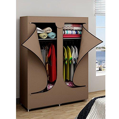 EBS® Kleiderschrank Wäscheschrank Garderobenschrank Stoffschrank Faltschrank 106 x 43 x 156 cm Braun