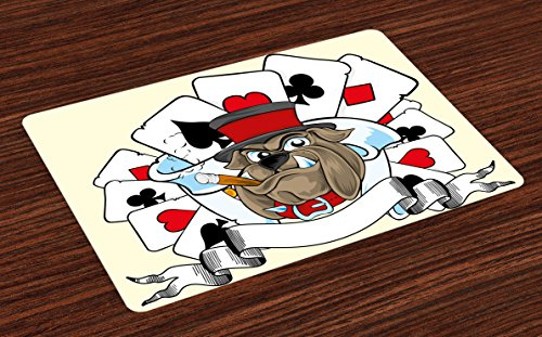 Lunarable Poker Tournament Place Mats Set of 4, Cartoon Style Bulldog with Playing Cards Ribbon Rich Winner Image Print, Washable Fabric Placemats for Dining Room Kitchen Table Decoration, Multicolor