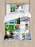 Ambesonne Spa Duvet Cover Set Twin Size, Collage of Spa Composition with Tropical Sandy Beach Ocean Rock Views Relax Rest Image, Decorative 2 Piece Bedding Set with 1 Pillow Sham, Multicolor