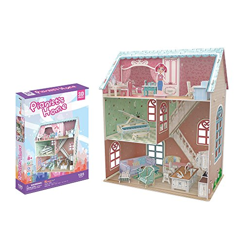 CubicFun P684h Dream Dollhouse - Pianist's Home with Furniture lovely 3D Puzzle, 105 (French Halloween Puzzle)