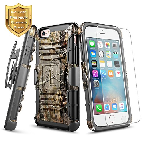 iPhone 6s Case, iPhone 6 Case with [Tempered Glass Screen Protector] NageBee [Heavy Duty] Armor Dual Layer [Swivel Belt Clip] Holster [Kickstand] Combo Rugged Case For Apple iPhone 6S/6 4.7 Inch -Camo