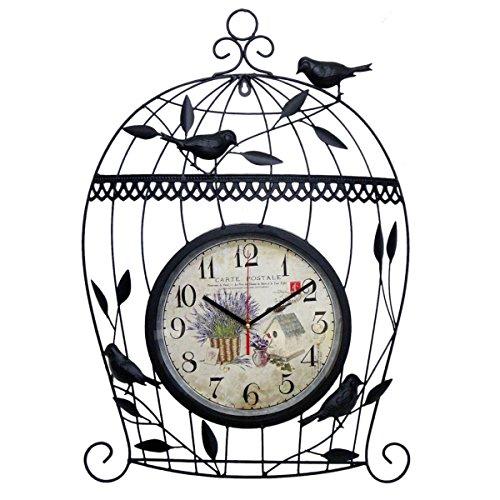 Relógio de parede Gaiola vintage Retro Para Decoracao de Casa e Jardim (XIN-3-PRETO)