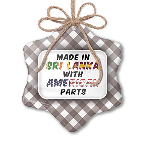 NEONBLOND Christmas Ornament American Parts but Made in Sri Lanka Grey White Black Plaid