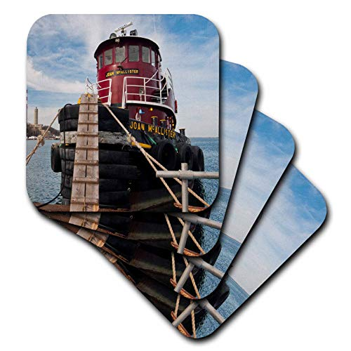 Tugboat Set - 3dRose Roni Chastain Sea Scapes - Red tugboat - set of 8 Coasters - Soft (cst_112539_2)