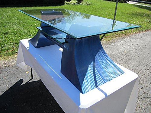 Jazz Series Media Stand / Metal Sculpture Base with Glass Top and Embedded Shelf