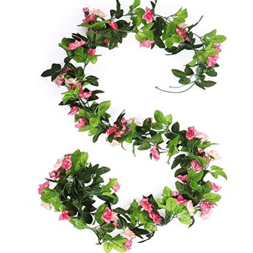 HEJIAYI 96 Inch Rose Vine Silk Flower Garland Artificial Flowers Plants Leaf Vine For Home Wedding Decoration Pack Of 3(Pink)