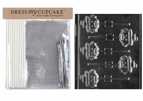Dress My Cupcake DMCKITH011 Chocolate Candy Lollipop Packaging Kit with Mold, Halloween, Face Scarecrow Lollipop
