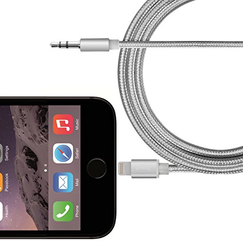 Lightning to 3.5mm Male Aux Audio Stereo Cable, Stouch Male to Male 3.5mm Auxiliary Audio Stereo Cable for iPhone 7 / 7 Plus to Car aux nylon braided cable (6.5Ft /2M)