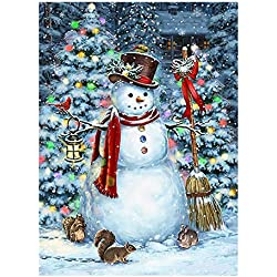 "Winter Snowman Christmas Tree Funny Animal Double Sided Garden Yard Flag 12"" x 18"", Squirrel Rabbit Snow Snowflakes Decorative Garden Flag Banner for Outdoor Home Decor Party"