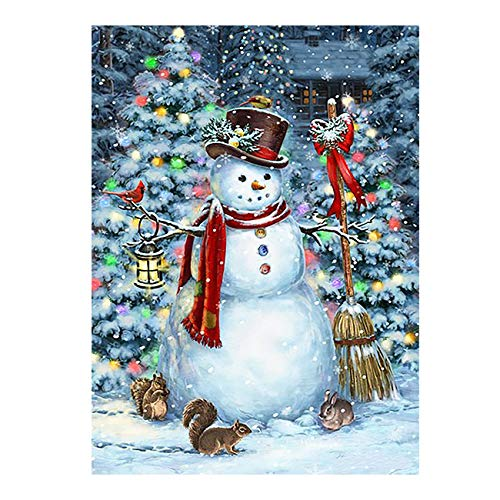 """Winter Snowman Christmas Tree Funny Animal Double Sided Garden Yard Flag 12"""" x 18"""", Squirrel Rabbit Snow Snowflakes Decorative Garden Flag Banner for Outdoor Home Decor Party"""