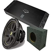 Kicker 10C12D4 12 DVC Comp Sub + DUBa1450 900 Watt Amp + Amp kit + 12 Truck Box