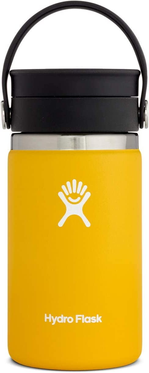 Hydro Flask Travel Coffee Bottle Stainless Steel Vacuum Insulated Large Opening with Leakproof Flex Sip Lid, Stainless Steel, Sunflower, 354ml (12oz)