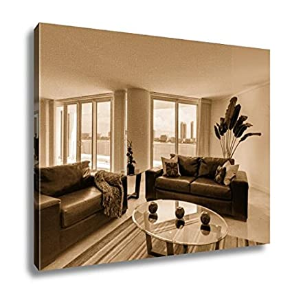 Amazon.com: Ashley Canvas Leather Sofa In Modern Apartment ...