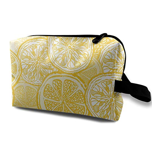 - Hateone Portable Travel Cosmetic Bag Artistic Lemon Slice Illustration Lady Makeup Organizer Clutch Bag with Zipper Travel Toiletry Storage Pouch
