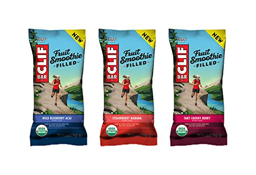 Fruit Smoothie Strawberry Banana - Clif Fruit Smoothie Filled - Organic Energy Bar - 3-Flavor Variety Pack - 1.76 Ounce Protein Snack Bar, 12 Count