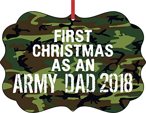 Jacks Outlet US Army First Christmas as an Army Dad 2018 Elegant Semigloss Aluminum Christmas Ornament Tree Decoration - Unique Modern Novelty Tree Décor Favors