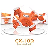 Upgrade Cheerson CX-10D 4 CH Transmitter 2.4G 6 Axis Gyro System LED Rechargeable Protable Nano RC UFO Quadcopter (Orange)