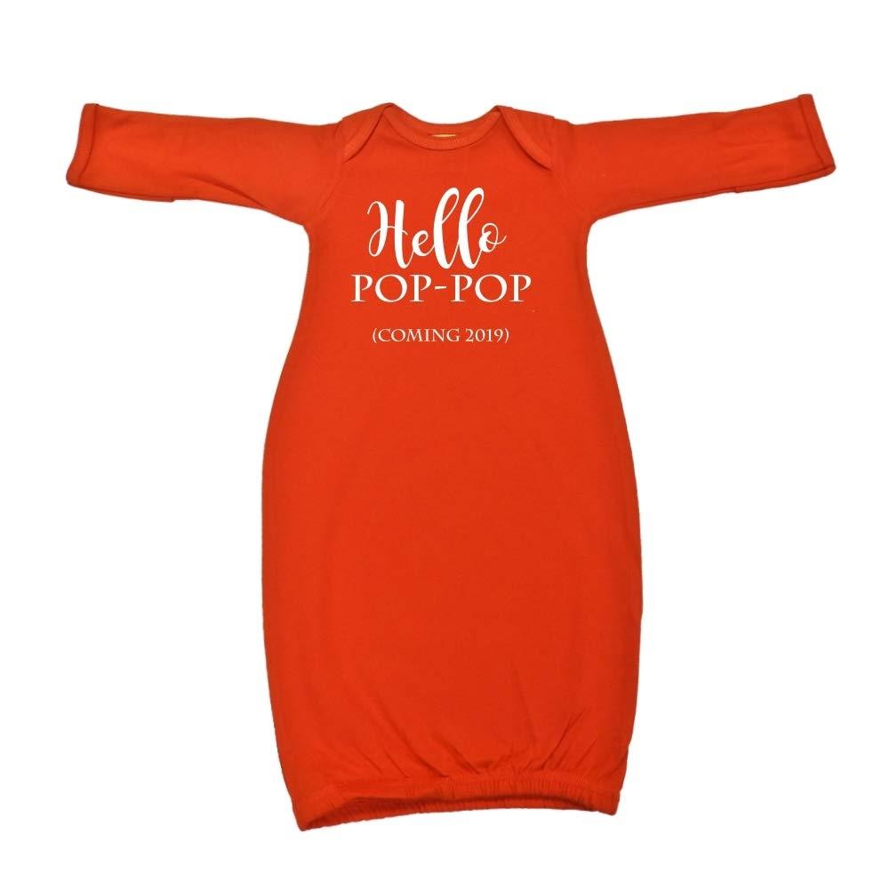 Coming 2019 Hello Pop-Pop Announcement Baby Cotton Sleeper Gown