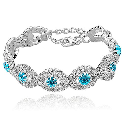 - Long Way Women's Silver Plated Rhinestone Bracelets (Blue)